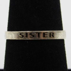 Vintage Size 7 Sterling Rustic Sister Thin Ring